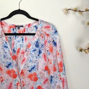 NYDJ Button Up Top Floral Long Sleeve 3X